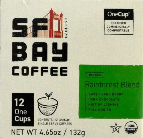 San Francisco Bay Organic Rainforest Blend Coffee OneCups Perspective: left