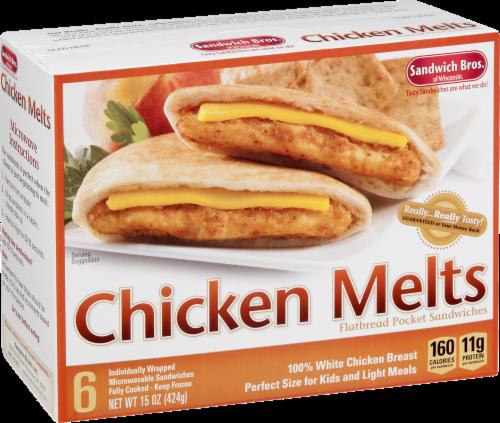 Sandwich Bros. Chicken Melts Flatbread Pocket Sandwiches Perspective: left