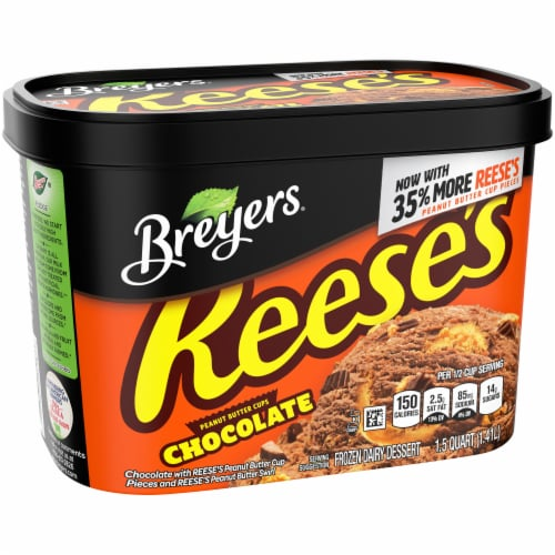 Breyers Reese's Peanut Butter Cups Chocolate Ice Cream Perspective: left