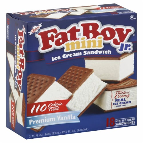 Fat Boy Jr. Mini Vanilla Ice Cream Sandwiches 18 Count Perspective: left