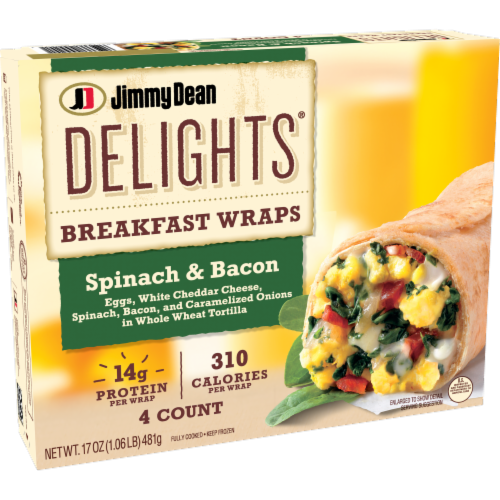 Jimmy Dean Delights Spinach & Bacon Breakfast Wraps Perspective: left