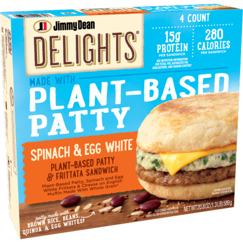 Jimmy Dean Delights® Spinach & Egg White Plant Based Patty & Frittata Sandwich Perspective: left
