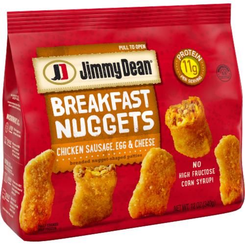 Jimmy Dean Chicken Sausage Egg & Cheese Breakfast Nuggets Perspective: left