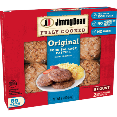 Jimmy Dean Fully Cooked Original Pork Sausage Patties Perspective: left