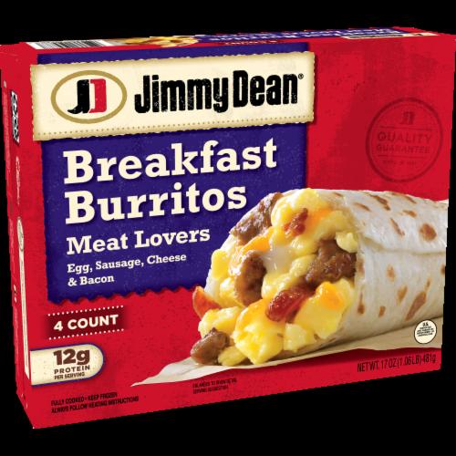Jimmy Dean Meat Lovers Breakfast Burritos Perspective: left