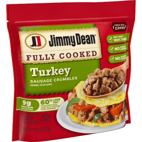 Jimmy Dean Fully Cooked Turkey Sausage Crumbles Perspective: left