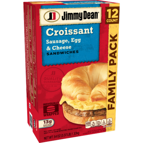 Jimmy Dean Sausage Egg & Cheese Croissant Sandwiches Perspective: left