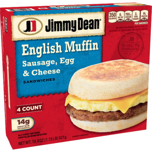 Jimmy Dean Sausage Egg & Cheese English Muffin Sandwiches Perspective: left