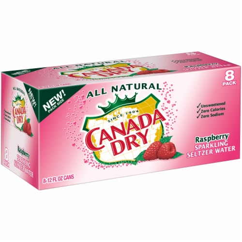 Canada Dry Raspberry Sparkling Seltzer Water Perspective: left