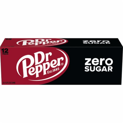 Dr Pepper Zero Sugar Soda Perspective: left