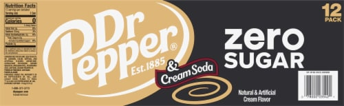 Dr Pepper Zero Sugar Cream Soda Perspective: left