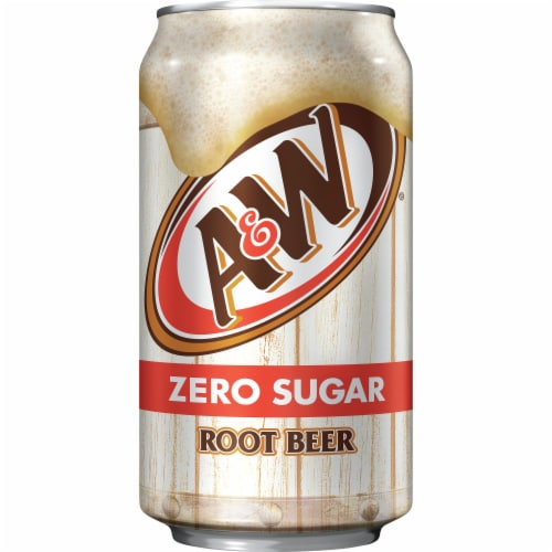 A&W Zero Sugar Root Beer Soda Perspective: left