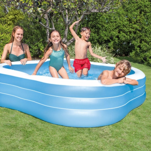 Intex Swim Center 90in x 90in x 2in Inflatable Play Kids Backyard Swimming Pool Perspective: left