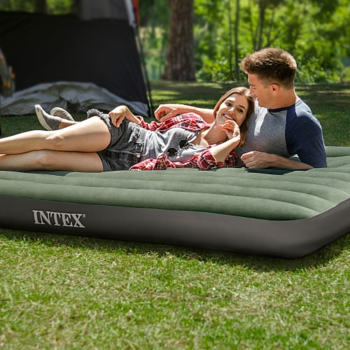 Intex 64722WL Durabeam Expedition Inflatable Air Mattress Air Bed w/ Pump, Full Perspective: left