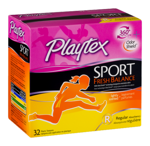Playtex Sport Fresh Balance Lightly Scented Regular Absorbency Tampons Perspective: left