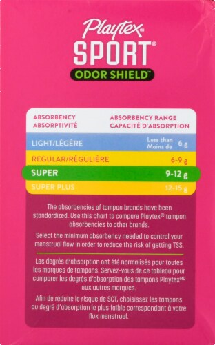 Playtex Sport Odor Shield Unscented Super Tampons Perspective: left