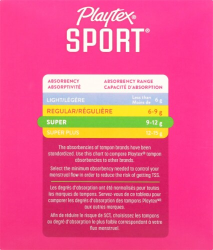 Playtex Sport Super Tampons Perspective: left