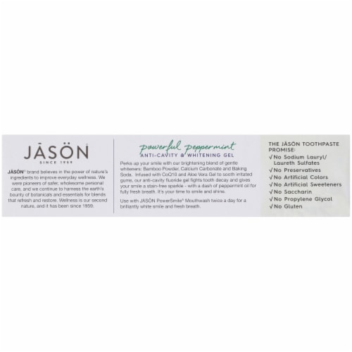 Jason Power Smile Peppermint Anti-Cavity & Whitening Gel Toothpaste Perspective: left