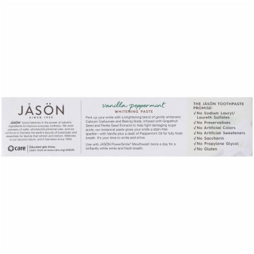 Jason Power Smile Vanilla Peppermint Whitening Toothpaste Perspective: left