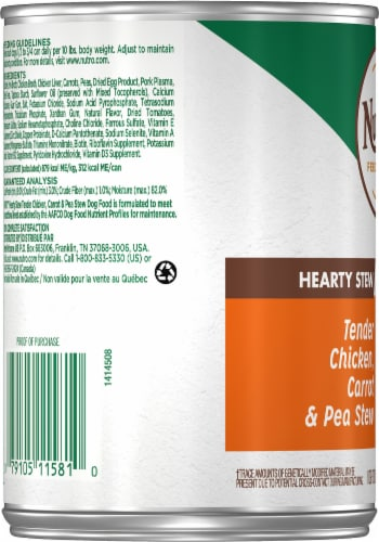 Nutro Hearty Chicken Carrot & Pea Stew Wet Dog Food Perspective: left