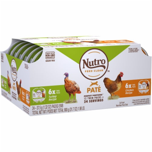 Nutro Grain Free Chicken & Turkey Pate Adult Cat Food Variety Pack Perspective: left