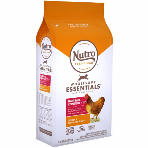 Nutro Wholesome Essentials Hairball Control Chicken & Brown Rice Dry Cat Food Perspective: left