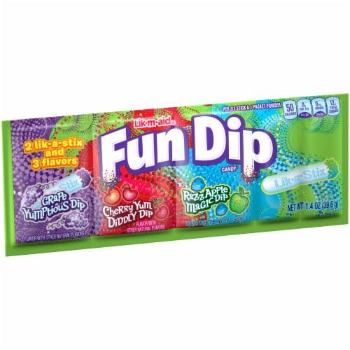 Fun Dip Lik-a-Stix Three Flavor Dip Candy Perspective: left