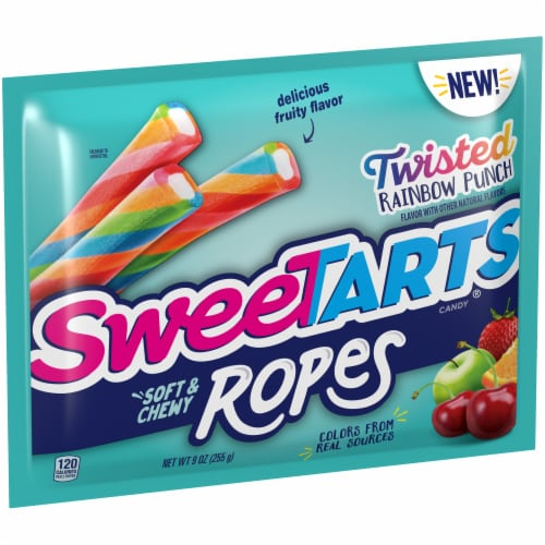 SweetTARTS Twisted Rainbow Punch Soft & Chewy Ropes Candy Perspective: left
