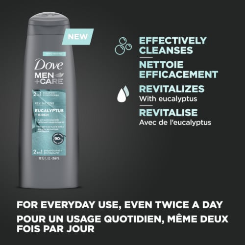 Dove Men+ Care Eucalyptus & Birch 2-in-1 Shampoo and Conditioner Perspective: left