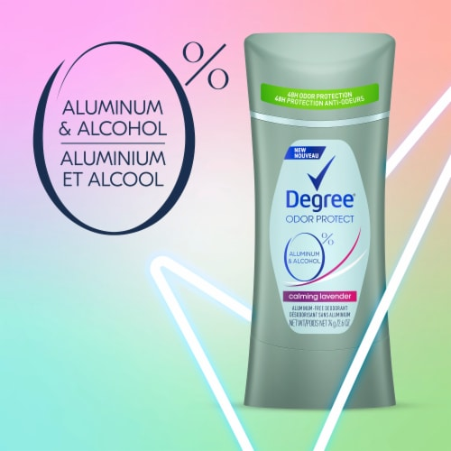 Degree Odor Protect Calming Lavender Aluminum-Free Deodorant Perspective: left
