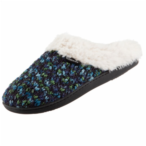 Isotoner® Women's Sweater  Knit Amanda Hoodback Slippers - Navy Blue Perspective: left