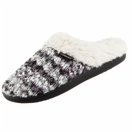Isotoner® Women's Sweater Knit Amanda Hoodback Slippers - Heather Gray Perspective: left