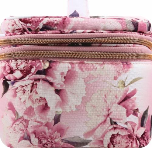 Sophia Joy Floral Double Zip Train Case Makeup Bag Perspective: left