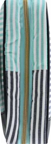 Sophia Joy Two Tone Stripe Weekender Makeup Bag Perspective: left