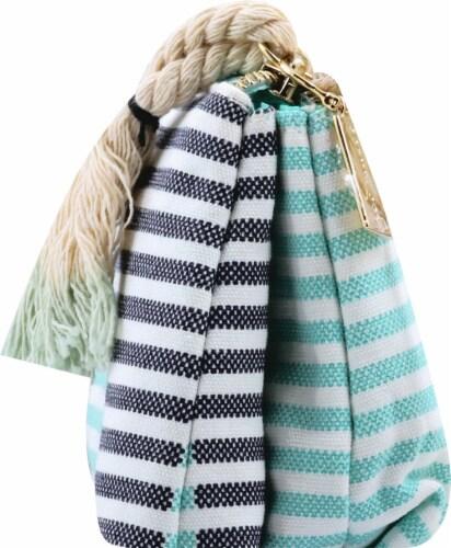 Sophia Joy Two Tone Stripe Purse Makeup Bag Perspective: left