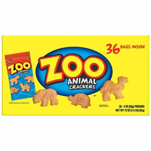 Zoo Animal Crackers, Original, 2 oz Pack, 36 Packs/Box 827545 Perspective: left
