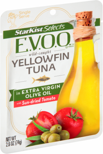 StarKist Selects E.V.O.O. Yellowfin Tuna in Extra Virgin Olive Oil with Sun-Dried Tomato Perspective: left