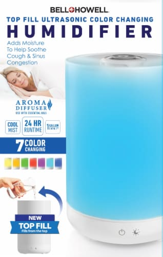 Bell + Howell Top Fill Ultrasonic Color Changing Humidifier Perspective: left
