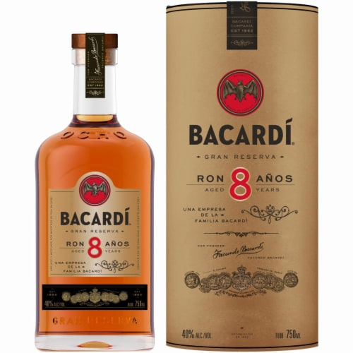 Bacardi Aged 8 Years Rum Perspective: left