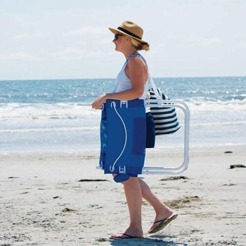 Rio Gear Portable Breeze Hammock Beach Chair w/ Foam Pillow & Cup Holder, Blue Perspective: left