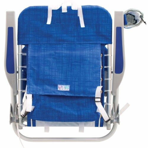 RIO Brands Portable 4 Position Lace Up Folding Backpack Beach Lounge Chair, Blue Perspective: left