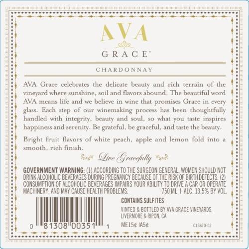 Ava Grace Chardonnay White Wine Perspective: left