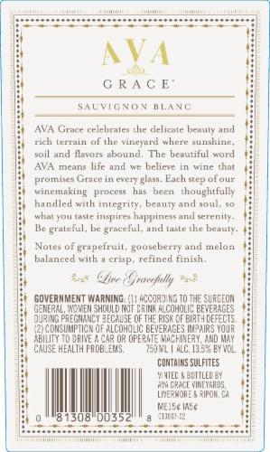 Ava Grace Sauvignon Blanc White Wine Perspective: left