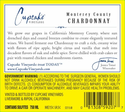 Cupcake Vineyards Chardonnay White Wine Perspective: left