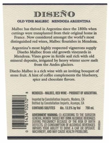 Diseno Malbec Red Wine Perspective: left
