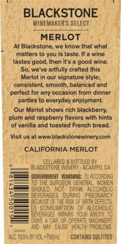 Blackstone Winemakers Select Merlot Red Wine Perspective: left