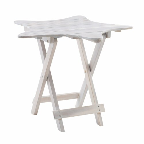 Powell Westover Wood Outdoor Folding Table in Whitewash Perspective: left