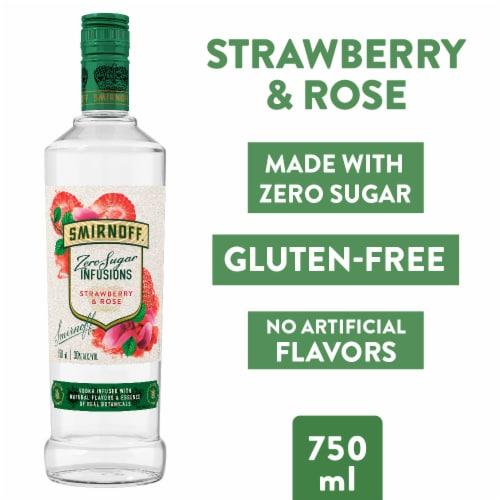 Smirnoff Zero Sugar Infusions Strawberry & Rose Vodka Perspective: left