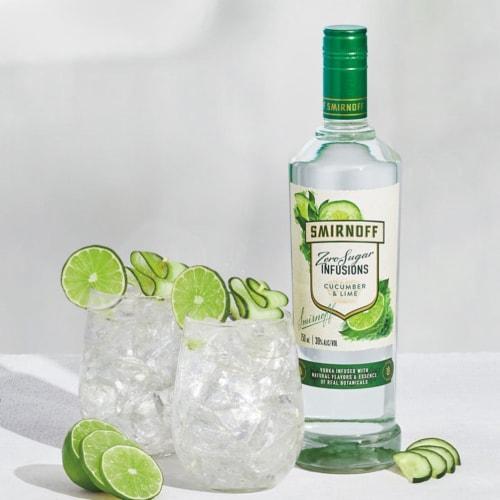 Smirnoff Zero Sugar Infusions Cucumber & Lime Vodka Perspective: left