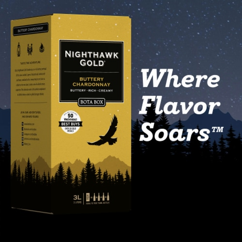 Bota Box Nighthawk Gold Buttery Chardonnay White Wine Perspective: left